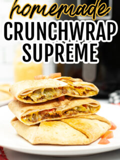 Homemade Crunchwrap Supreme in front of an air fryer
