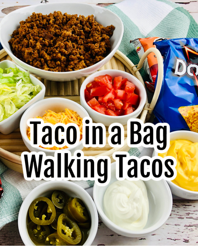 Various ingredients placed in bowls for Taco in a Bag