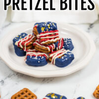 Red, White, and Blue Pretzel Bites on a white plate.